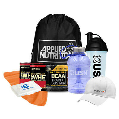 USN Bundle Kit 1L Jug, 700ml Shaker,Gym Towel,Applied Cap,Drawstring Bag,Samples