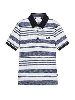 Hugo Boss Boys White & Blue Striped Polo Shirt