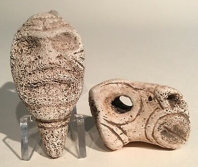 Taino 2 Pendants, One A Mask The Other An Animal Head. PreColumbian