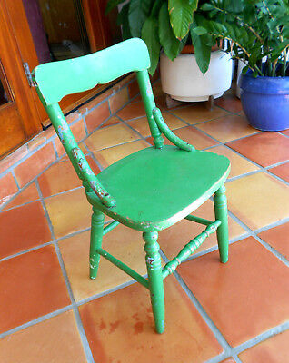 Vintage Solid Oak Wood Children Green Painted Chair.  See all Pictures!