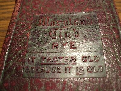 1917 Maryland Club Rye Whiskey Pocket  Diary Embossed Leather Cover Maps Charts