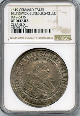 Germany 1619 Brunswick-Luneburg-Celle Thaler,christian Of Minden Ngc-Xf