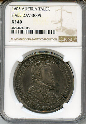Austria - Hall 1603 King Rudolph Ii Thaler Very Scarce,toned Ngc-Xf-40.