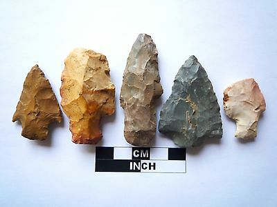 Native American Arrowheads x 5, Genuine Archaic Artifacts, 1000BC-8000BC (973)