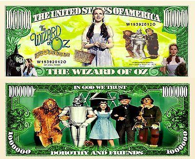 Wizard Of Oz Million Dollar Bill **Novelty Money** FREE Sleeve