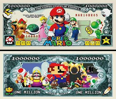 Super Mario Brothers Million Dollar Bill **Novelty Money** FREE Sleeve