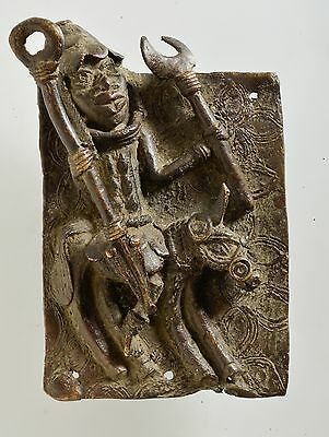 "African BENIN Bronze 8""H Palace Plaque, Oba / King on horse warrior, Tribal art."