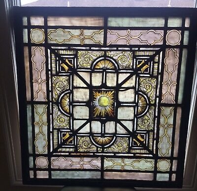Antique Reverse Painted Stained Glass Window