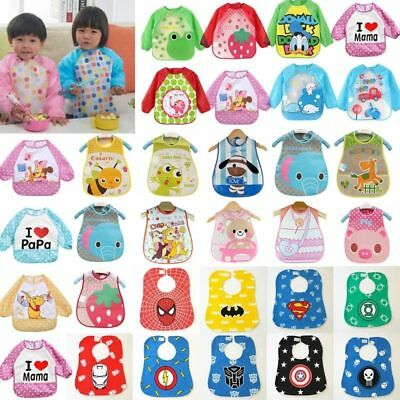 Baby Toddler Waterproof Long Sleeve Feeding Smock Apron With Tie For Children US