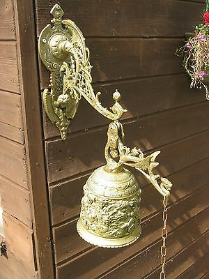 Vintage Large Brass Ornate Wall Hanging Bell With Cherubs