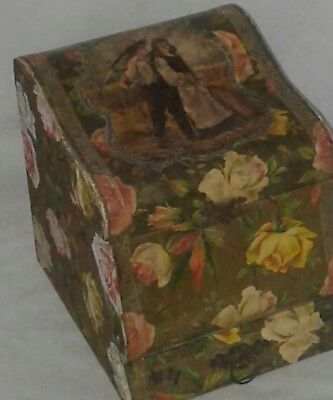 Antique Victorian Collar Box Wooden With Drawer Raised Decor Paper Flowers