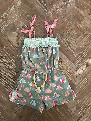 EUC Worn twice Matilda Jane CAMPFIRE STORIES ROMPER Tents Girl's Happy & Free 4