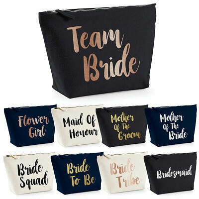 Team Bride To Be Make Up Bag Bridesmaid Squad Crew Hen Do Night Party Rose Gold