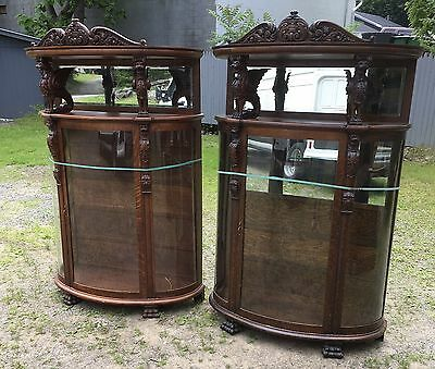Pair Of Hooded R.j. Horner Carved Oak Winged Griffin China Cabinets