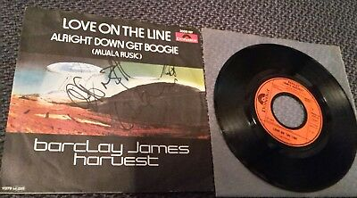 """BARCLAY JAMES HARVEST: Love On The Line - 7"""" 1979, Hülle 4fach SIGNIERT!"""