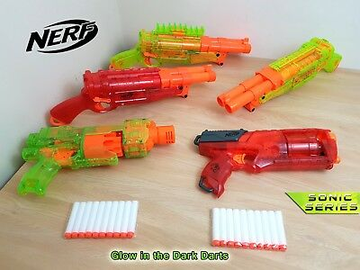 Nerf Gun Bundle 3x Barrel Break Maverick Strongarm Sonic Ice Series Glow Darts
