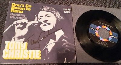"""TONY CHRISTIE: Don't Go Down To Reno - 7"""" Single 1972, Coverhülle SIGNIERT!"""