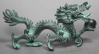 Collection Chinese Folk Old copper Handwork Dragon Statue
