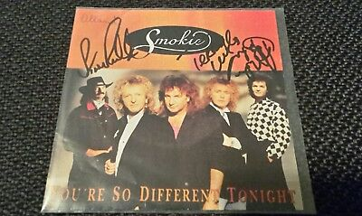 """SMOKIE, 3fach SIGNIERTE Coverhülle """"You're So Different Tonight"""", Terry Uttley!"""