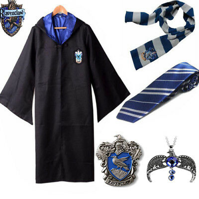 Harry Potter Costume Ravenclaw Robe Cloak Scarf Tie Necklace Brooch Set Outfit
