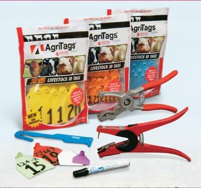 AGRI-LABS AGRITAG LARGE CALF EAR TAG W/BUTTON Numbered (26-50) White 25ct