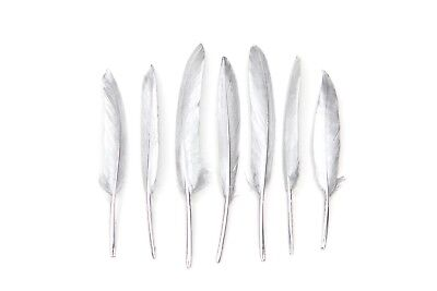"""Hand Painted Silver Feathers 4-6"""" Great for weddings, crafts + dream catchers"""