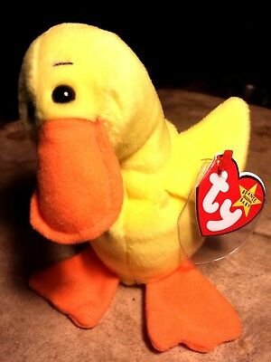 "Ty Beanie Babies Quackers The Yellow Duck New Toy Gift Stuffed Animal 6.5 ""Inch."