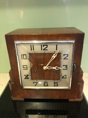 Art Deco wooden mantel clock with pendulum and key