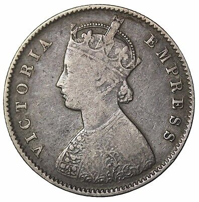 British India 1885-C Queen Victoria Silver 1/2 Half Rupee KM#491