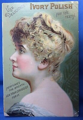 1890s Antique IVORY POLISH Teeth Toothpaste Victorian Advertising TRADE CARD