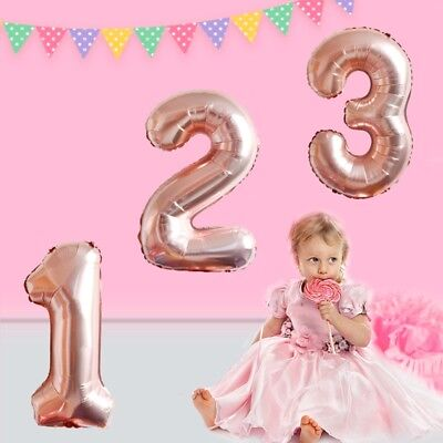 40'' Giant Rose Gold Number Birthday Balloons Helium Foil Kids Party Wedding
