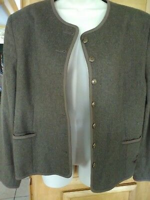 women ladies woman dirndl trachten jacket lined german gold tone button designer
