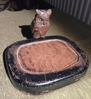 Old Wooden Pin Tray With Carved Wooden Owl