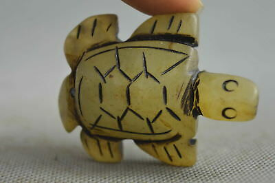 Old China Collectable Handwork Old Jade Carve Tortoise Moral Longevity Statue