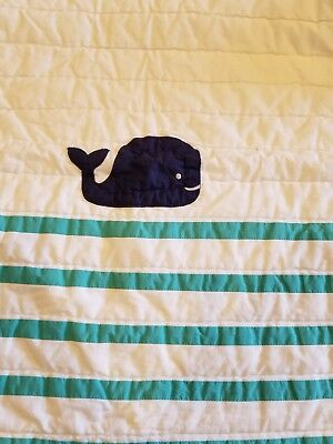 Pottery Barn Kids Hamptons Whale Baby Toddler Crib Quilt Monogrammed Hunter