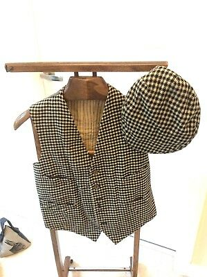 Vintage Men's Scottish Tweed Waistcoat with Flat Cap - Black White Check