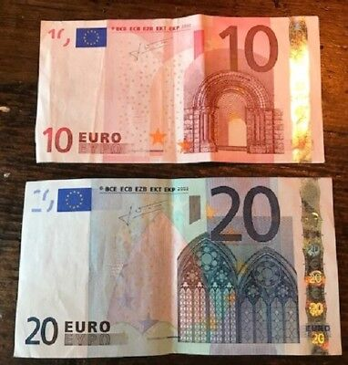EURO BANKNOTES 10 & 20  2002 currency money Jean-Claude Trichet euros Europe $$$