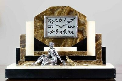 1930 Art Deco Mantel Onyx  Clock With Plated And Gilded Bronze Sculptures