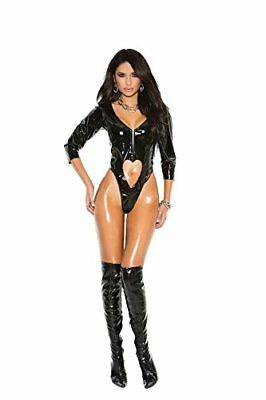 Vinyl 3/4 Sleeve teddy with zipper and front and back cut, Black, Large