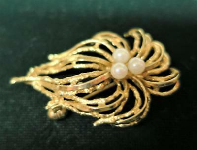 Danish Vintage Retro 60s QUALITY 14 Ct /585 GOLD BROOCH Hermann Siersbol Denmark