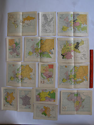 14 Mostly European Maps 1713 - 1925. Small, Color, Utrecht, Napoleonic, France
