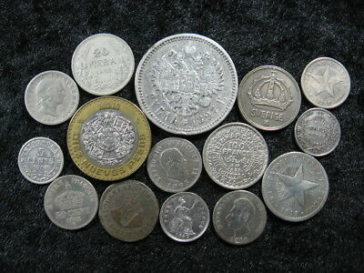 15 old world foreign SILVER coin lot ASSORTED NATIONS 1839-1993 FREE S&H