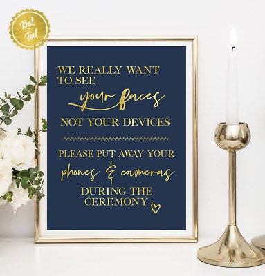Wedding signs // Unplugged Ceremony / Gold and Navy / custom wedding / wedding