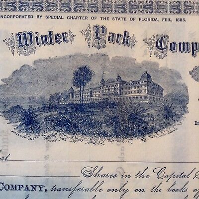 5 stock certificates Winter Park Company Winter Park FL dated 1885