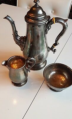 Birks Regency Silverplate Coffee Set Creamer Sugar Bowl