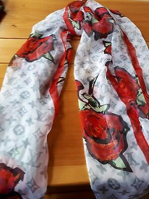 """Beautiful Sprouse """" Graffiti  Roses"""" Louis Vuitton Silk Scarf-No Issues 27X68 In"""
