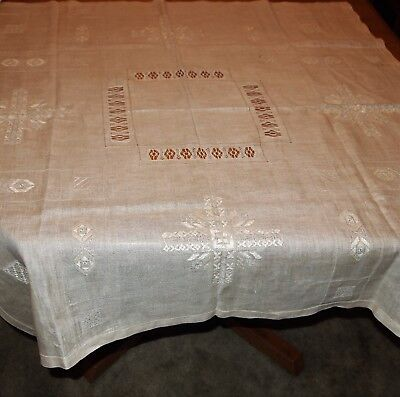 Antique Linen Ecru Drawn Thread Work Crocheted Embroidered Table Cloth 44 x 45.5