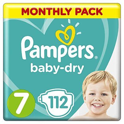 Pampers Baby-Dry Size 7, 112 Nappies, 15 kg, Air Channels for Breathable Drynes