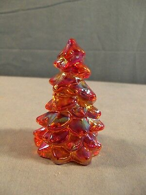 "Small Mosser Marigold Carnival Glass Pine Christmas Tree - 2 3/4"" Tall #3"