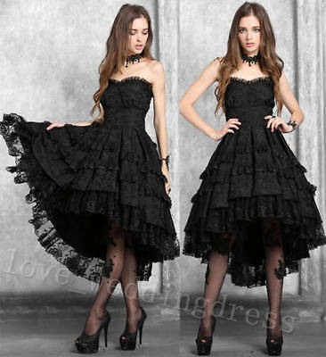 Black Hi Lo Victorian Lace Gothic Evening Dresses Cocktail Prom Gown Custom Made